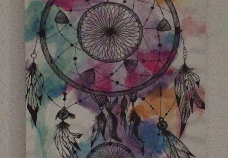 Cuadro con motivos indios impreso en varios colores