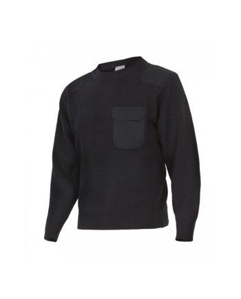Jersey negro manga larga con bolsillo delantero