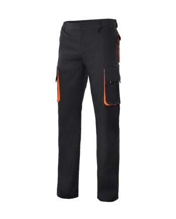 Pantalón bicolor multibolsillos serie 103004 color 0-16 negro-naranja