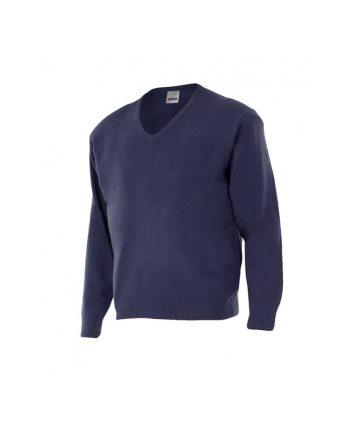 Jersey azul marino manga larga con cuello de pico