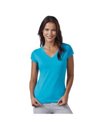 Camiseta azul llevada por mujer