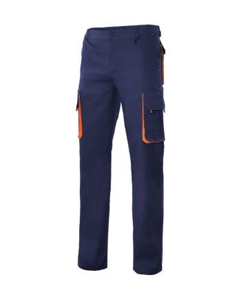 Pantalón bicolor multibolsillos serie 103004 color 1-16 azulmarino-naranja