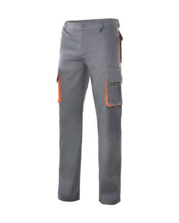 Pantalón bicolor multibolsillos serie 103004 color 8-16 gris-naranja