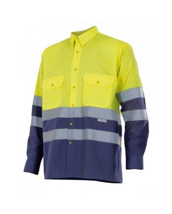 Camisa alta visibilidad 144 amarillo-azul marino 70