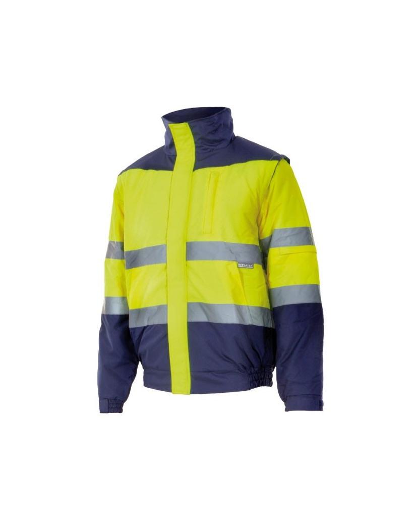 Chaqueta bicolor alta visibilidad amarillo-azul marino 161