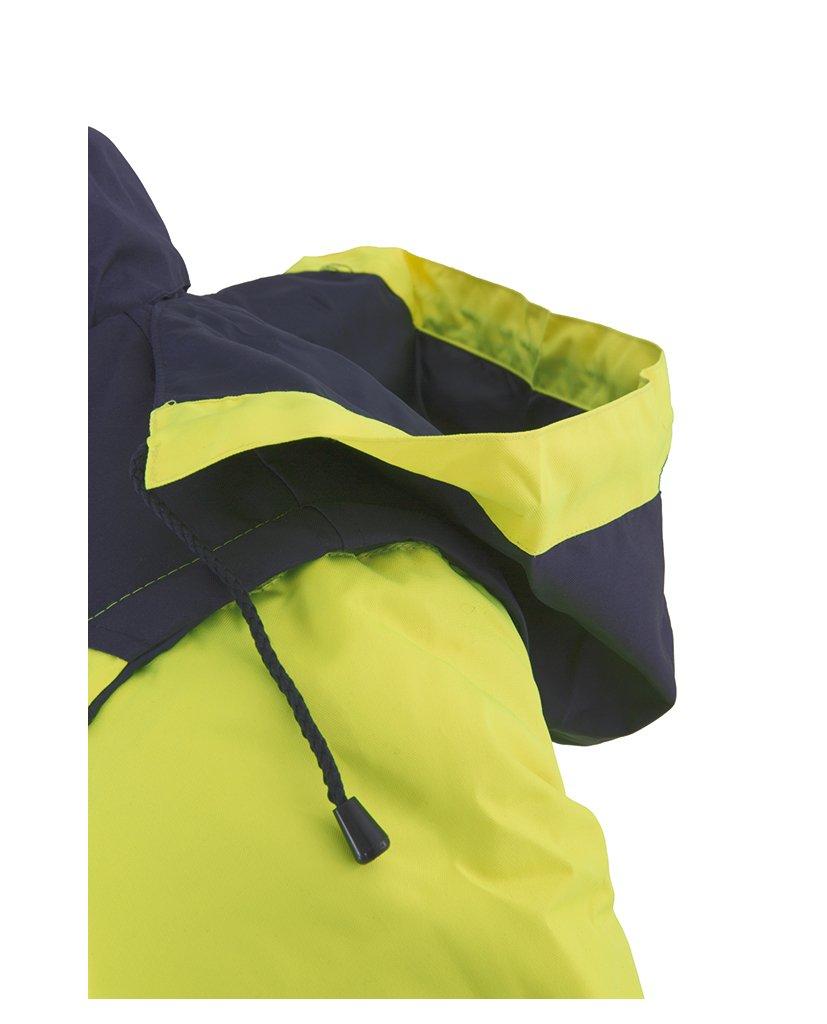 Chaqueta bicolor alta visibilidad amarillo-azul marino 161 detalle capucha