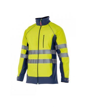 Chaqueta bicolor alta visibilidad amarillo-azul marino
