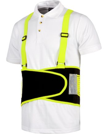 Faja lumbar tirantes alta visibilidad reforzada en amarillo y negro modelo wfa305